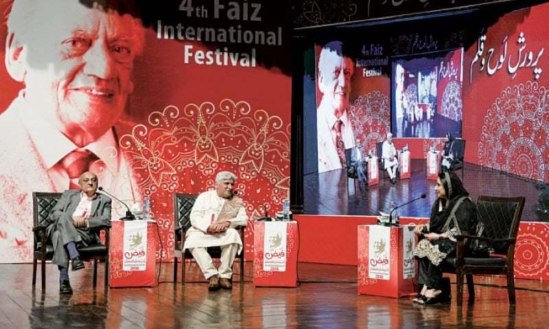 Javed Akhtar talks during a session along with Amjad Islam Amjad and Ambreen Salahuddin at the Faiz International Festival. — White Star