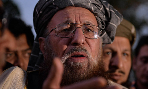 """""""We have not yet received any official or court order regarding exhumation of the body of Shaheed Maulana Samiul Haq, but why we will allow the postmortem today which was refused yesterday (immediately after the incident),"""" said JUI-S provincial chief Maulana Yousaf Shah. — APP/File"""