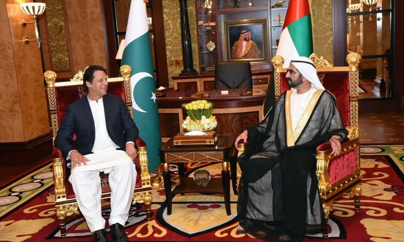 PM Imran Khan meets UAE Prime Minister Sheikh Mohammed bin Rashid Al Maktoum. — Photo courtesy PTI Twitter