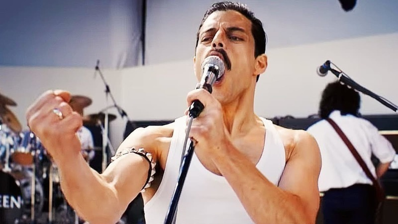 Rami Malek as Freddie Mercury in Bohemian Rhapsody.