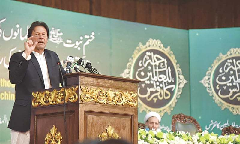 PRIME Minister Imran Khan addressing the conference.—White Star