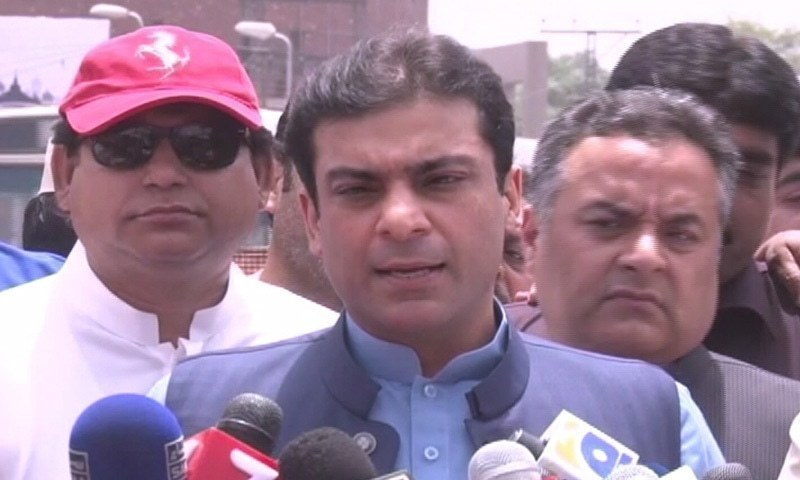 Hamza appears before a two-judge bench along with his counsel Azam Nazir Tarar to plead the bail petitions.— DawnNewsTV/File