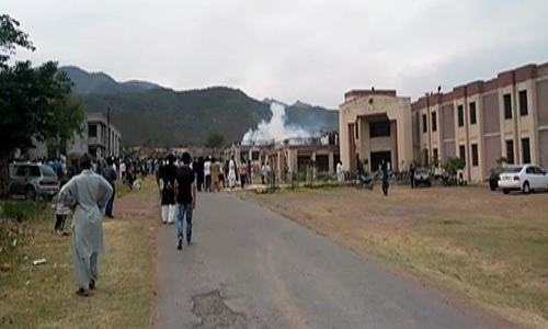 According to the police, some of the students also displayed weapons and fired a couple of shots. — DawnNewsTV