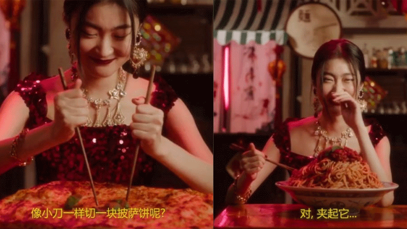 A Chinese model attempting to use chopsticks to eat a pizza, a cannoli and spaghetti has been called out for being racist.