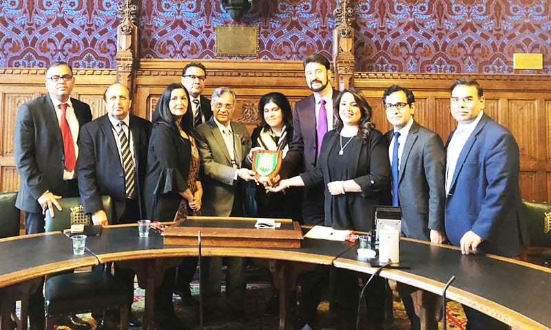 Chief Justice of Pakistan Mian Saqib Nisar during his interaction with British Parliamentarians of Pakistan heritage at the Houses of Parliament today.— Photo Release by Pakistan High Commission