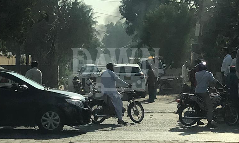 Traffic in the area has been disrupted due to the attack. — DawnNewsTV