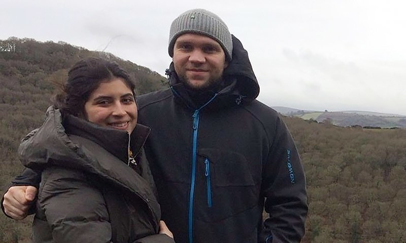 In this handout file photo released by the family of British student Matthew Hedges via the Detained in Dubai organisation on October 11, 2018 shows him (R) and his wife Daniela Tejada (L) posing in an undisclosed location. — AFP/File photo