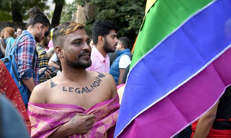 Thousands of people wearing garish outfits rallied in Indian capital on November 25 at the first Gay Pride parade after the landmark ruling by country's top court legalising gay sex. —AFP
