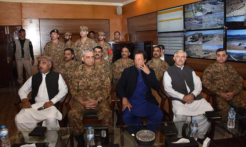 Prime Minister Imran Khan and Army Chief Gen Qamar Javed Bajwa arrived in Miranshah in North Waziristan. —ISPR