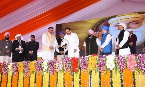India's Vice-president M Venkaiah Naidu lays foundation stone for the Kartarpur Corridor at Gurdaspur. — Photo via official Twitter account of Vice President of India