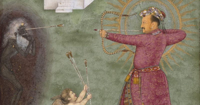 Jahangir triumphing over poverty, c. 1620-25