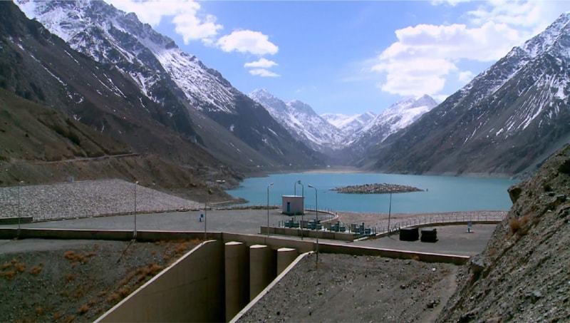 A View of dam on Satpara Lake.