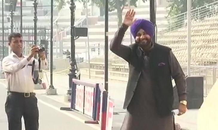 Navjot Singh Sidhu arrives in Lahore via Wagah border.— Photo courtesy ANI