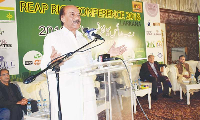 SINDH PPP president Nisar Khuhro speaks at the conference in Larkana on Tuesday.—Dawn
