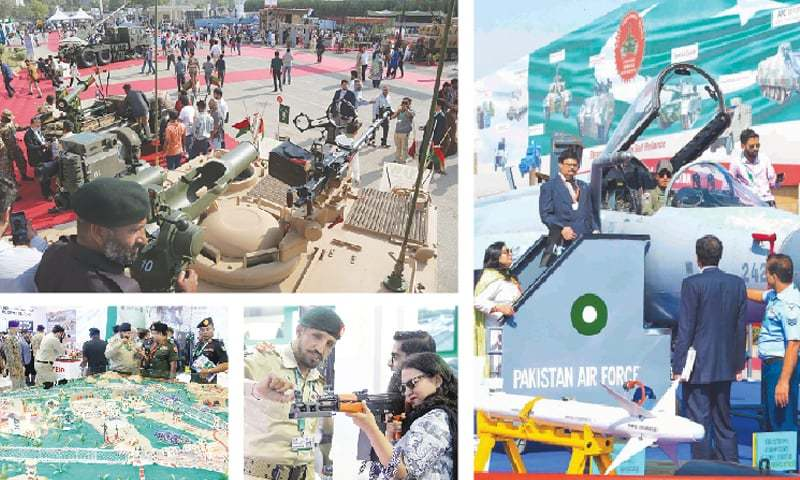 KARACHI: (clockwise) Visitors inspect missiles at the 10th International Defence Exhibition and Seminar at the Expo Centre on Wednesday. Aviation enthusiasts gather around JF-17 Thunder aircraft. A visitor tries out a weapon. A view of a battlefield model in the exhibition.—Photos by White Star / Agencies