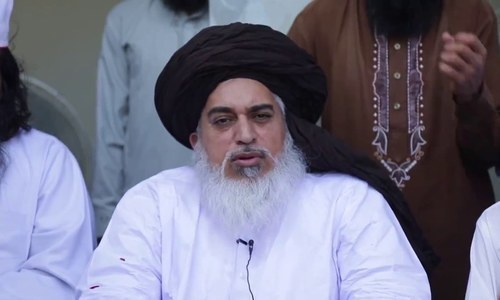 "Khadim Rizvi could not have appeared before the ECP as he is currently in ""protective custody"". — File"