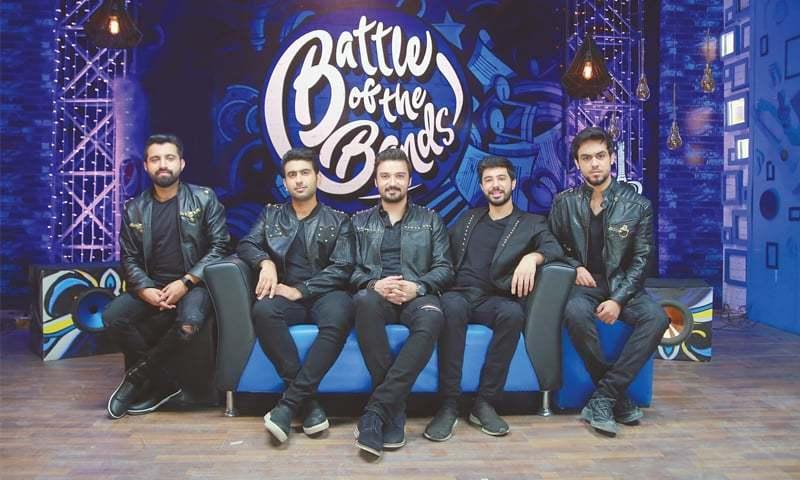 The Bayaan lineup: Muqeet Shahzad (guitars), Shahrukh Aslam (guitars), Asfar Hussain (lead singer), Mansoor Lashari (drums) and Haider Abbas (bass)