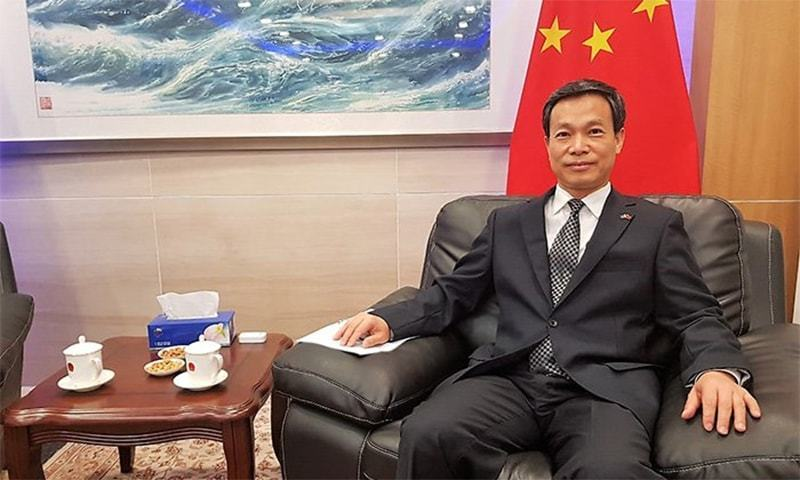 "Chinese Consul General Long Dingbin says China is investing in multiple sections to ""boost Pakistan's economy"". — Photo courtesy: Geo News"