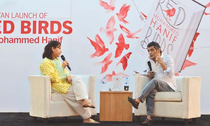 The author being interviewed by Sanam Maher at the book launch.—Faysal Mujeeb / White Star