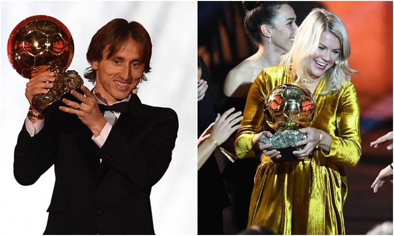 (L) Real Madrid's Croatian midfielder Luka Modric brandishes the trophy after receiving the 2018 FIFA Men's Ballon d'Or award for best player of the year. (R) Olympique Lyonnais' Norwegian forward Ada Hegerberg (C) is congratulated by her teammates after receiving the 2018 FIFA Women's Ballon d'Or award for best player of the year during the 2018 FIFA Ballon d'Or award ceremony at the Grand Palais in Paris on Monday. — AFP