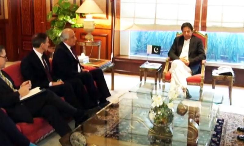 US Special Envoy for Afghan reconciliation Zalmay Khalilzad meets Prime Minister Imran Khan at Prime Minister House. — screengrab