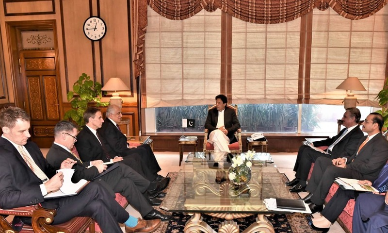 US Secretary of State's Special Representative for Afghanistan Reconciliation, Ambassador Zalmay Khalilzad pays a courtesy call on Prime Minister Imran Khan at PM Office. —PID
