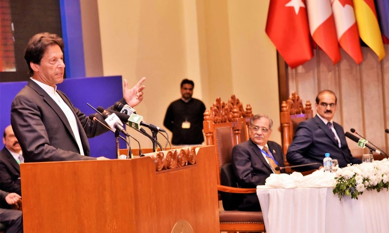 "Prime Minister Imran Khan addressing the National Symposium on ""Alarming Population Growth in Pakistan : Call for Action"" at Supreme Court of Pakistan. —PID"