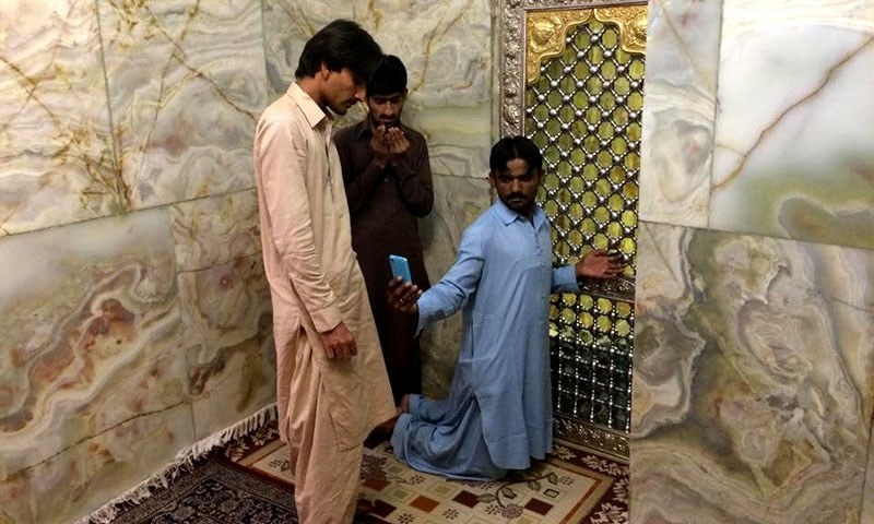 Pakistani pilgrims take a selfie at the tomb of Bibi Shahrbanu.—All photos by the author