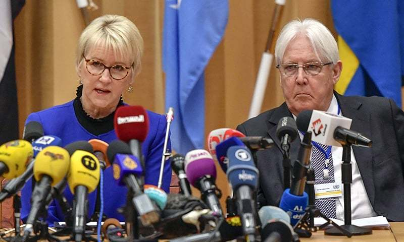 Sweden's Foreign Minister Margot Wallstrom, left, and UN envoy to Yemen Martin Griffiths attend the opening press conference of the Yemen peace talks, at Johannesberg castlein Rimbo, Sweden on Thursday. — AP