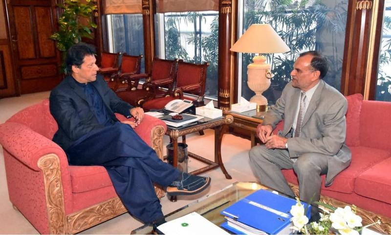 Azam Swati calls on PM Imran Khan at PM House in Islamabad. —PID