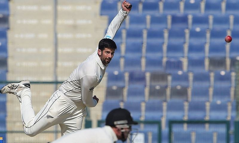New Zealand spinner Will Somerville delivers the ball during the last day of the third and final Test. — File