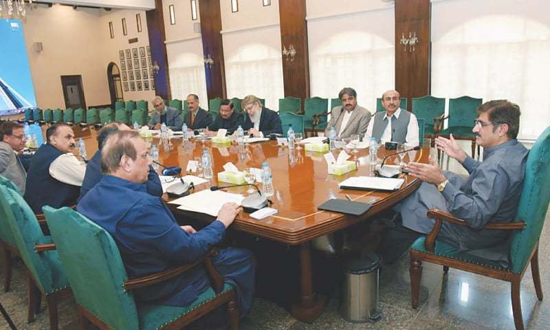 Murad Ali Shah chairs the meeting on mega projects at CM House on Friday.—PPI