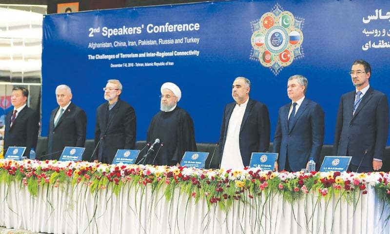 Parliament speakers from Afghanistan, China, Iran, Pakistan, Russia and Turkey and Iranian President Hassan Rouhani pictured during the 2nd Speakers' Conference on Saturday.—AFP