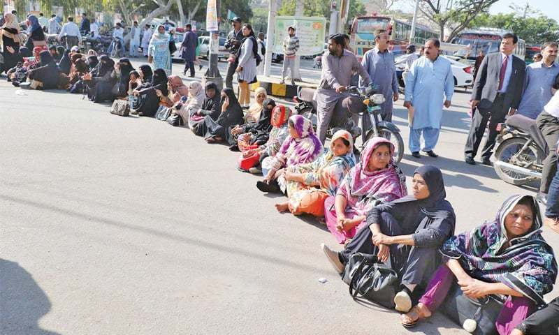The sit-in was staged by allottees of the Bahira Town housing project. — APP/File