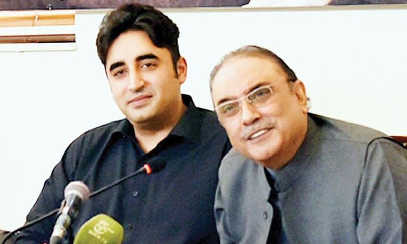PPP Chairman Bilawal Bhutto-Zardari and co-chairman Asif Ali Zardari. — DawnNewsTV/File