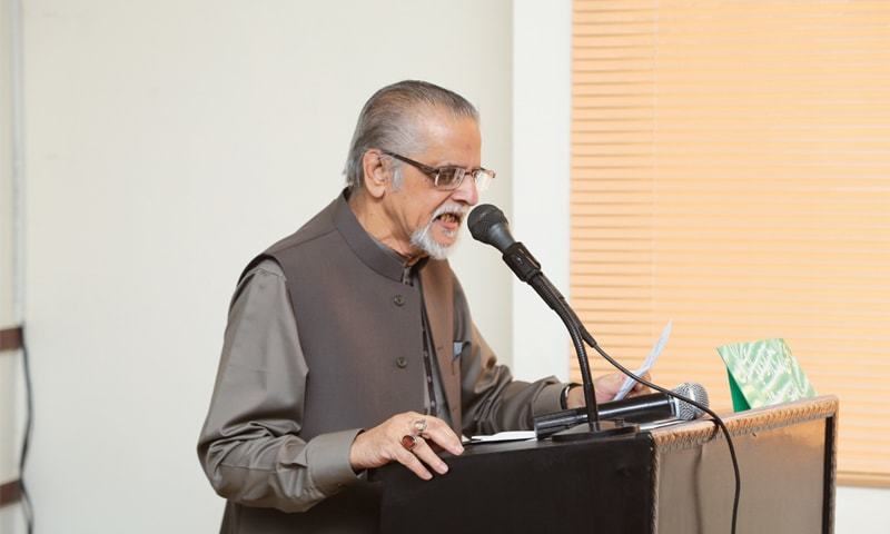 Dr Mohammad Raza Kazimi speaks at the event held in his honour on Saturday.