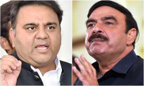 "Railways Minister Sheikh Rashid claims the prime minister called him four times to deliberate on ""a proposed portfolio reshuffle"". —Dawn Archives"