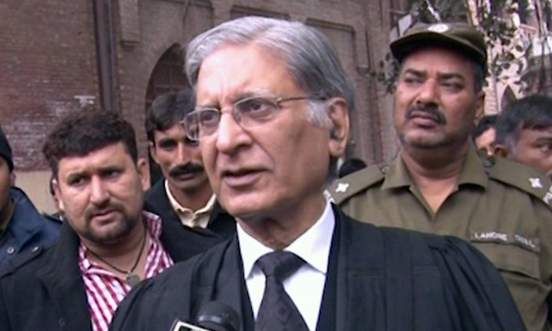 Barrister Aitzaz Ahsan speaks to reporters in Lahore. — DawnNewsTV