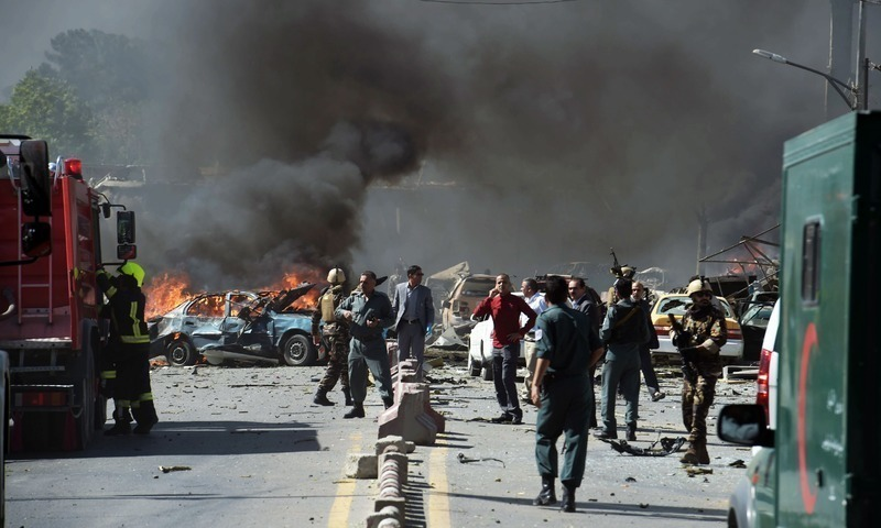 A file photo of a bomb blast in Afghanistan.