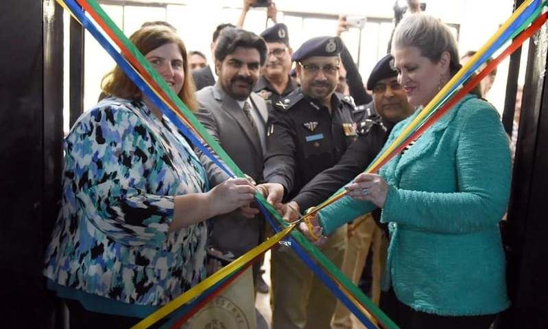 US Consul General JoAnne Wagner, Sindh Works and Services Minister Nasir Hussain Shah and provincial police chief Dr Kaleem Imam inaugurated a shooting simulator system installed at the Saeedabad Police Training Centre in Karachi. —Photo provided by the author