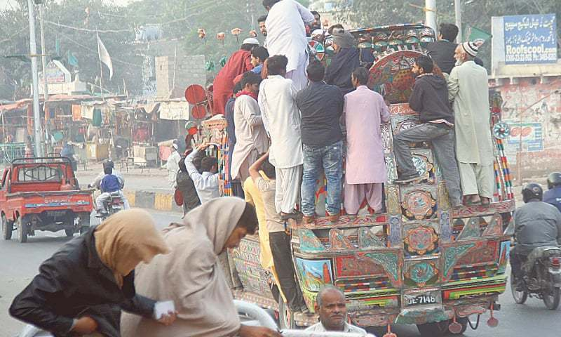 THE few public transport vehicles that did operate on Wednesday were filled way beyond capacity.—Online
