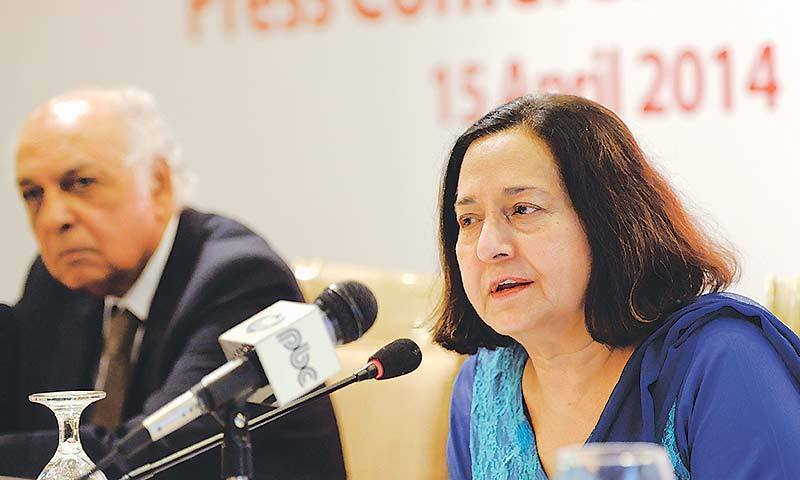 Ameena Saiyid (right) speaks at a press conference in Islamabad. — File
