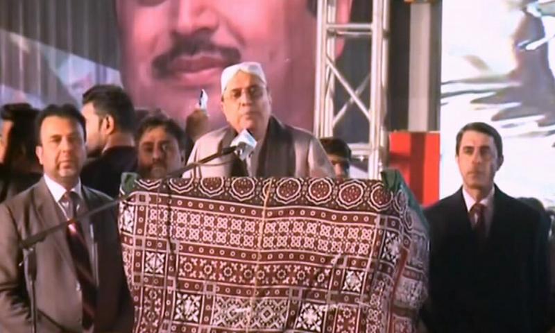 Asif Ali Zardari says he wants Musharraf to live and see how people express their love for Benazir at Garhi Khuda Bux. —DawnNewsTV