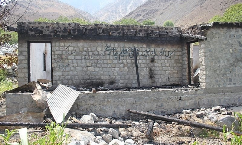 This file photo shows one of the schools which was torched in Diamer.