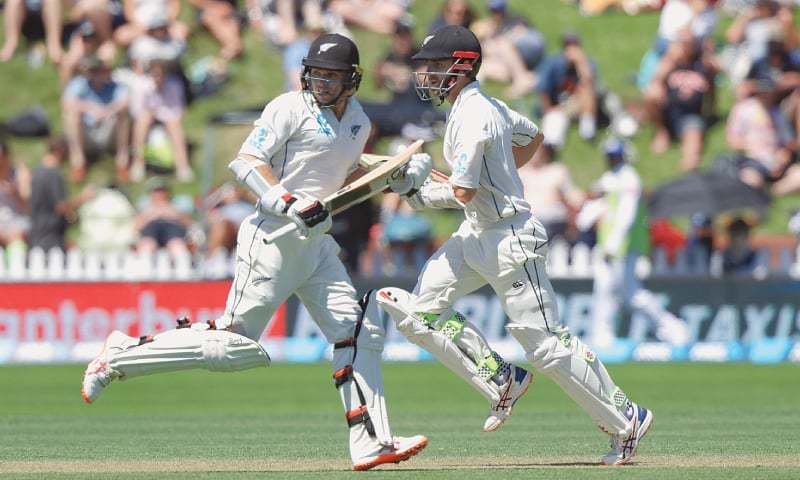 NEW ZEALAND opener Tom Latham (L) and captain Kane Williamson run between  the wickets 4528db1ec0ad4