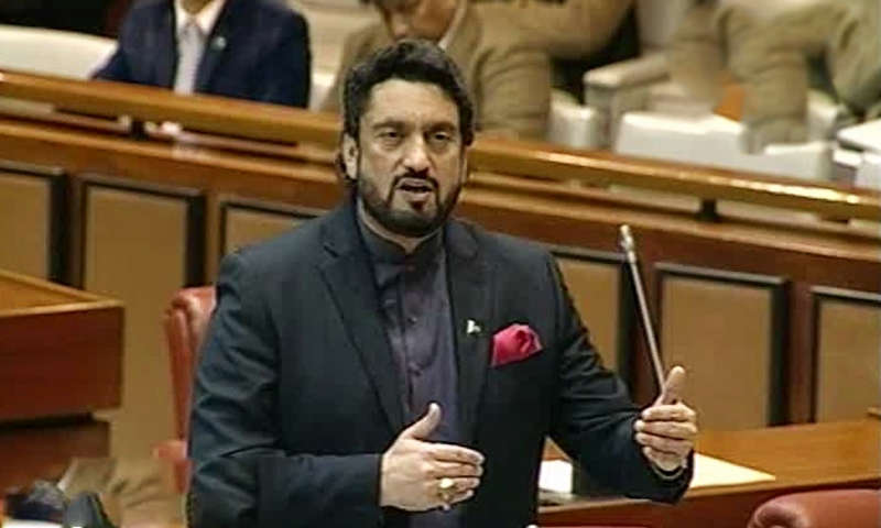 Minister of State for Interior Shehryar Afridi speaks in the Senate on Wednesday. — DawnNewsTV