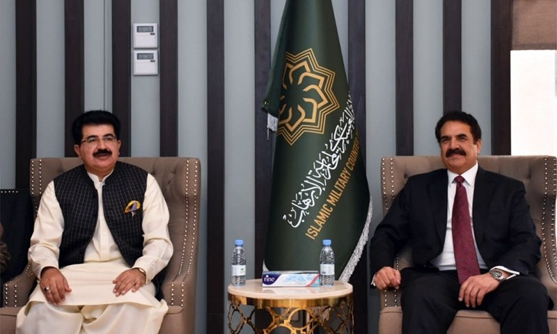 Former army chief retired Gen Raheel Sharif in a meeting with Senate Chairman Sadiq Sanjrani in Saudi Arabia. —Photo: Senate Secretariat