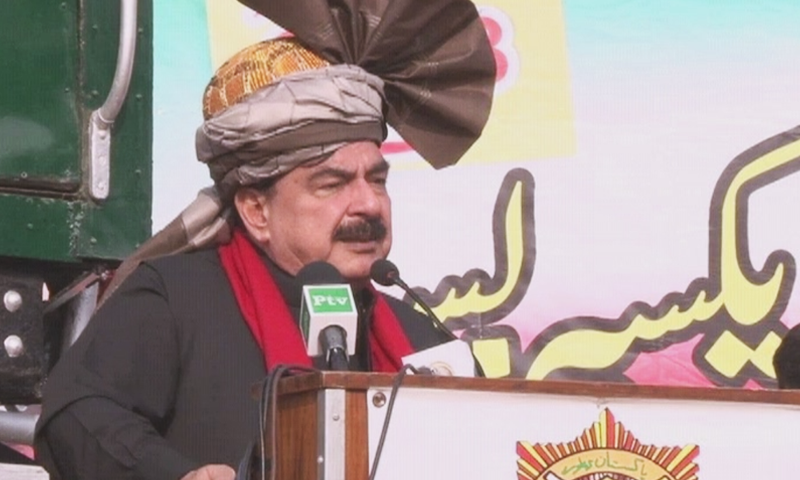Federal Minister for Railways Sheikh Rashid Ahmed  addresses the inauguration ceremony of Rahman Baba Express.— DawnNewsTV