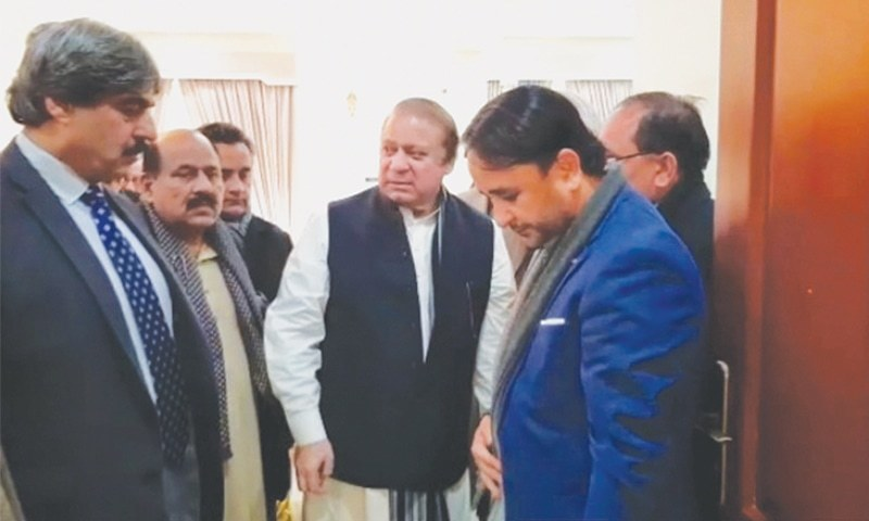 FORMER prime minister Nawaz Sharif leaves the farmhouse of ex-senator Abbas Afridi in Islamabad for the accountability court on Monday.—White Star