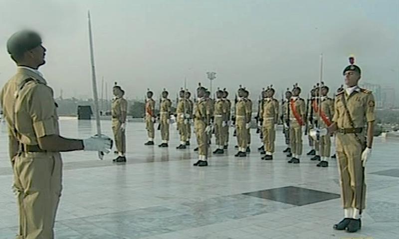 Cadets of the Pakistan Military Academy took over guard duties. — DawnNewsTV